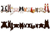 farm animals border with silhouette.