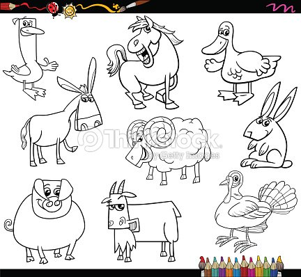 Farm Animals Coloring Book Vector Art
