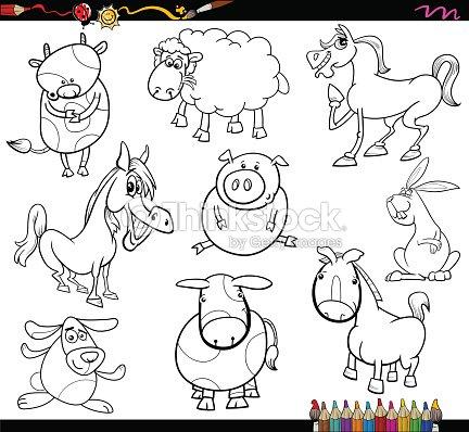 Granja Animales Para Colorear Página Arte vectorial   Thinkstock