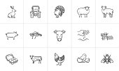 Farm animals sketch icon set for web, mobile and infographics. Hand drawn Farm animals vector icon set isolated on white background.
