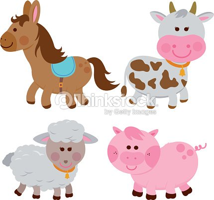 Farm animals: horse, cow, sheep and pig