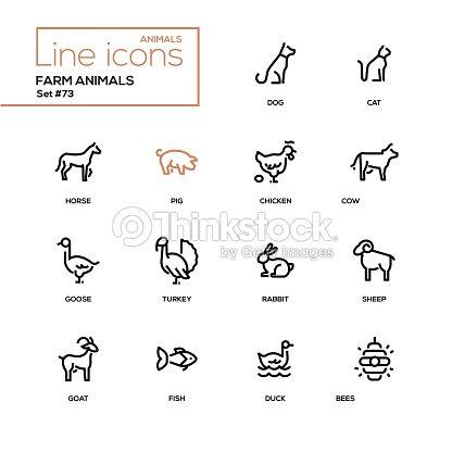 Farm animals - line design icons set : stock vector
