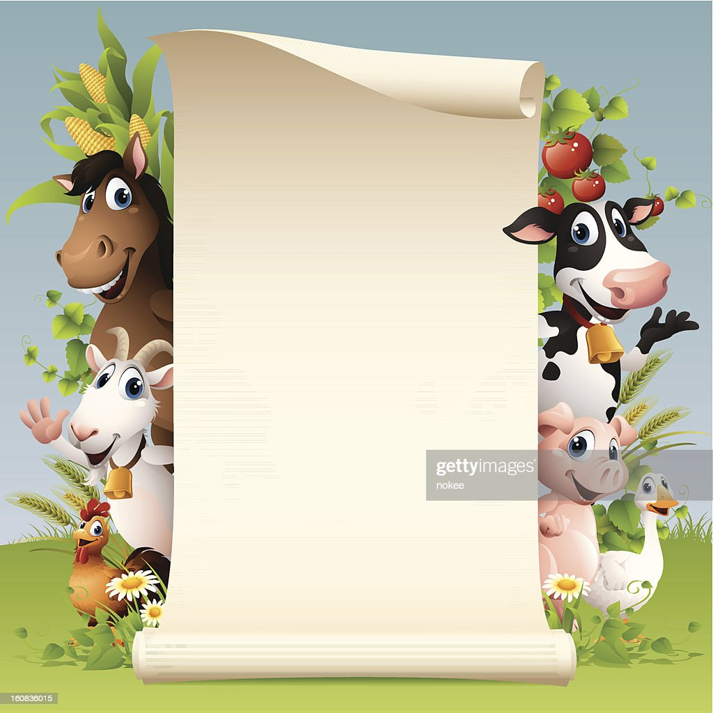Farm Animals - scroll : Vector Art