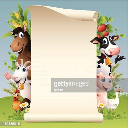 Farm Animals - scroll : Vector Art
