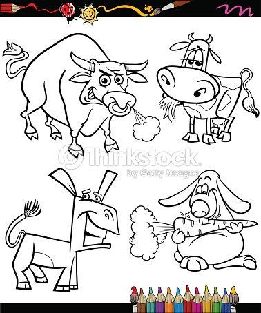 Conjunto De Animales De Granja Dibujos Animados Libro Para Colorear ...