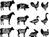 Set of butchery labels templates. Farm animals with sample text. Retro styled farm animals silhouettes collection for groceries, meat stores, packaging and advertising.