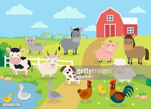 Farm animals with landscape - cute cartoon vector illustration with farm, cow, pig, horse, goat, sheep, ducks, hen, chicken and rooster : Arte vetorial