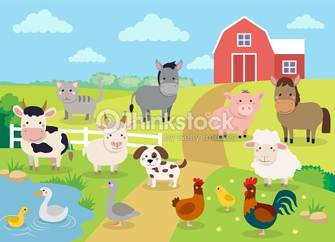 Farm animals with landscape - cute cartoon vector illustration with farm, cow, pig, horse, goat, sheep, ducks, hen, chicken and rooster : stock vector