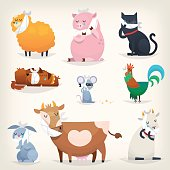 Set of popular colorful vector farm animals and birds with ill teeth. Posters for the dentists clinic