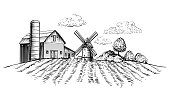 Farm barn and windmill on agricultural field on background trees rural landscape hand drawn sketch style horizontal illustration. Black and white rural landscape vector illustration