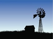 Layer-separated illustration of a farm house and windmill silhouette.