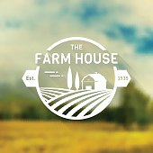 Farm House concept badge. Sign with farm landscape on blurred background. Retro label for natural farm products. White template in flat style. Vector illustration.