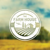 Farm House concept sign. Vintage template with farm landscape on blurred background. Grunge label for natural farm products. White badge in flat style. Vector illustration.