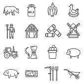 farm icons set. agriculture and livestock, thin line design. Farm food, linear symbols collection. Harvesting, isolated vector illustration.
