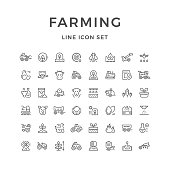 Set line icons of farming and agriculture isolated on white. Vector illustration