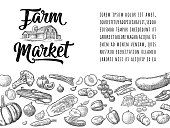 Farm market calligraphic lettering with vegetables and fruits. Vector engraving vintage black illustration. Isolated on white background. For logotype, label, badges, poster, web icon