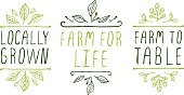 Hand-sketched typographic elements. Farm product labels. Suitable for ads, signboards, packaging and identity and web designs. Locally grown. Farm for life. Farm to table.