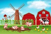 Farm scene with animals illustration