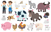 Farmer and farm animal, Vector graphic elements.