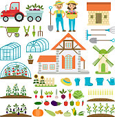 Farmer family and farm icons gardener family characters farmers with various plants healthy organic food vector illustration. Farmland agricultural hothouse garden worker.