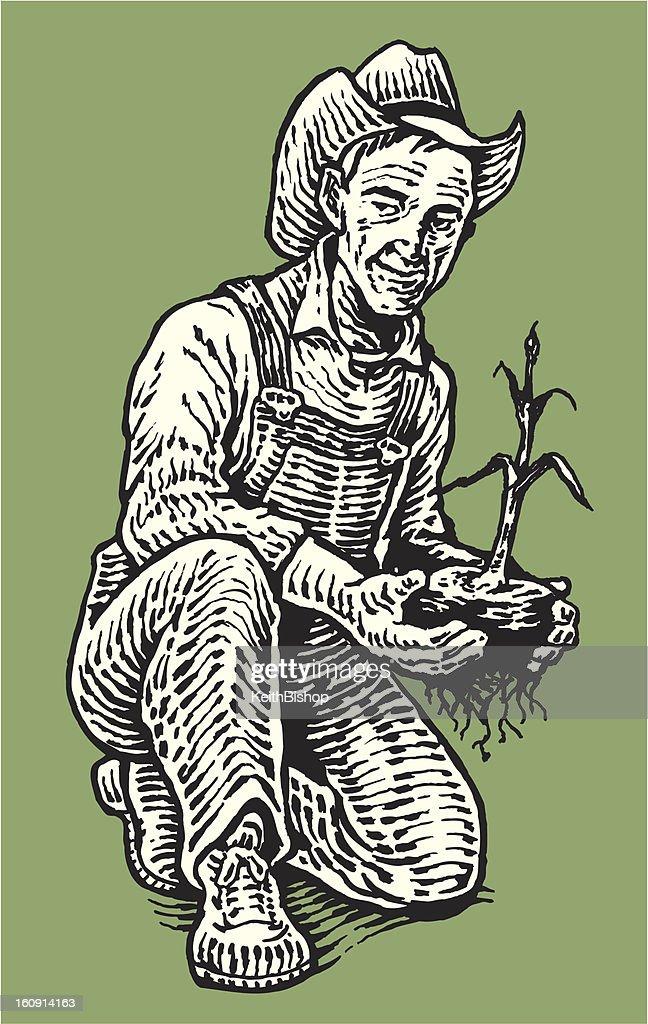 Farmer in Garden with Plant : Vektorgrafik