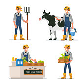 Farmer working at farm and selling farm products. Flat style vector illustration isolated on white background.