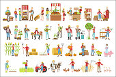 Farmers And Their Products Set Of Simple Childish Flat Colorful Illustrations On White Background