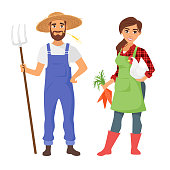 Vector cartoon style illustration of farmers: man and woman character. Isolated on white background. Vibrant color.
