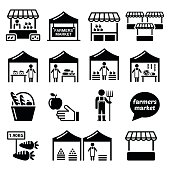 Vector icons set - market stalls selling fruit, vegetables, meat and dairy