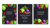 Farmers market poster template set with fresh vegetables and fruits cabbage, peas, tomato, apple, blueberry and text on black background. Black colorful cartoon style vector illustration.