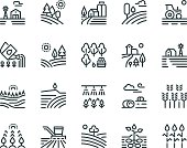 Farming landscape line icons. Rural houses, planting vegetables and wheat fields, cultivated crops. Agriculture vector pictograms
