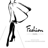 Fashion advertising brochure, Paris business card, hand drawn vector illustration art