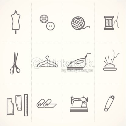 Fashion And Scratched Sewing Related Symbols Icons Set Vector Art