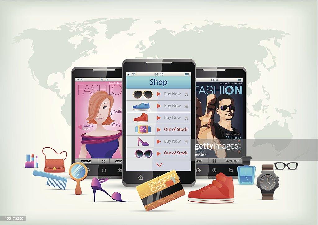 Fashion app on smartphone : Vector Art