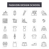 Fashion design school line icons, signs set, vector. Fashion design school outline concept illustration: fashion,deschool,background,education,art,set