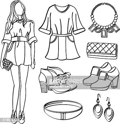 Fashion Lady With Clothing And Accessories Vector Art