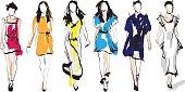 Fashion models. Sketch.Fashion models. Hand drawn sketch
