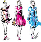 Hand drawn woman fashion models, vector scketch