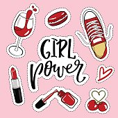 Fashion Patches Set.Girl Power.Modern Pop Art Stickers. Vector Illustration.