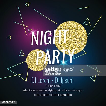 Fashion poster night party abstract style with glitter, rays, triangles and text : stock vector