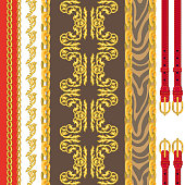 Seamless vector pattern with jewelry elements and animal skin texture. Safari textile collection.