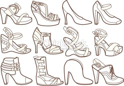 Colección De Zapatos De Moda Libro Para Colorear Arte vectorial ...