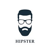 Fashion silhouette hipster. Hipster avatar. Vector illustration.