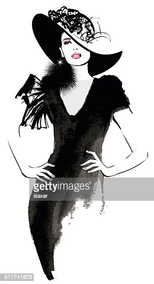 Fashion woman model with a black hat : Vector Art