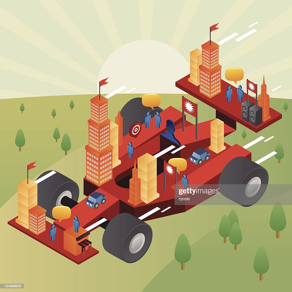 Fast City on a formula one car : Vector Art