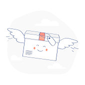 Fast Delivery Service, Parcels Delivery. Happy cute Package is flying with wings. E-Commerce template. Isolated vector illustration.