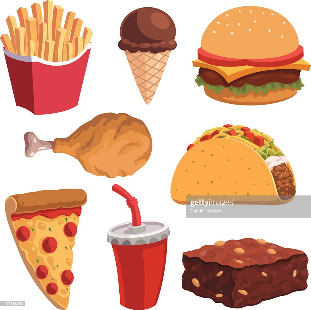 Fast Food Cartoon Set Vector Art | Getty Images