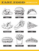 Vector illustration of hand drawn food, including burger, hot dog, sandwich, pizza, french fries, nuggets, tacos and potato wedge, isolated on white.