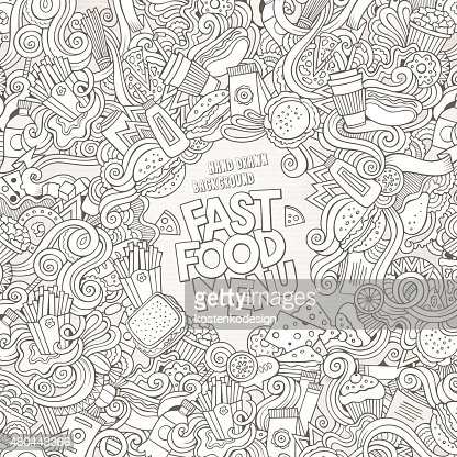 Fast Food Doodles Elements Frame Background Vector Art Thinkstock