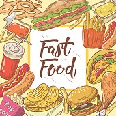 Fast Food Hand Drawn Background with Burger, Hot Dog and Drink. Unhealthy Eating. Vector illustration